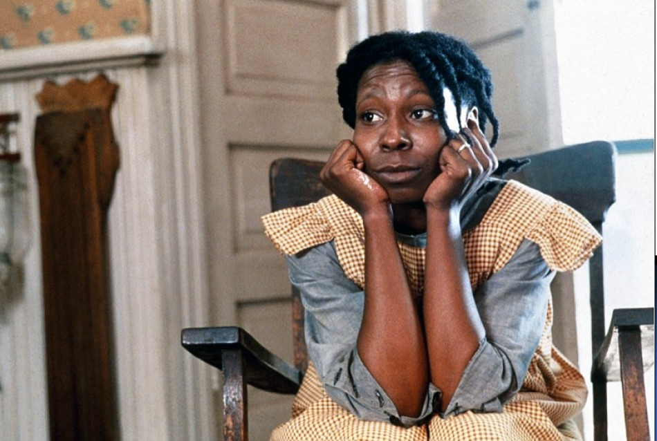 Miss Celie from the movie The Color Purple pondering and troubled