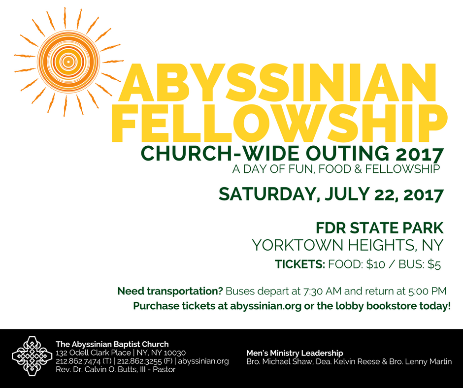 Abyssinian Churchwide Outing - Details Below