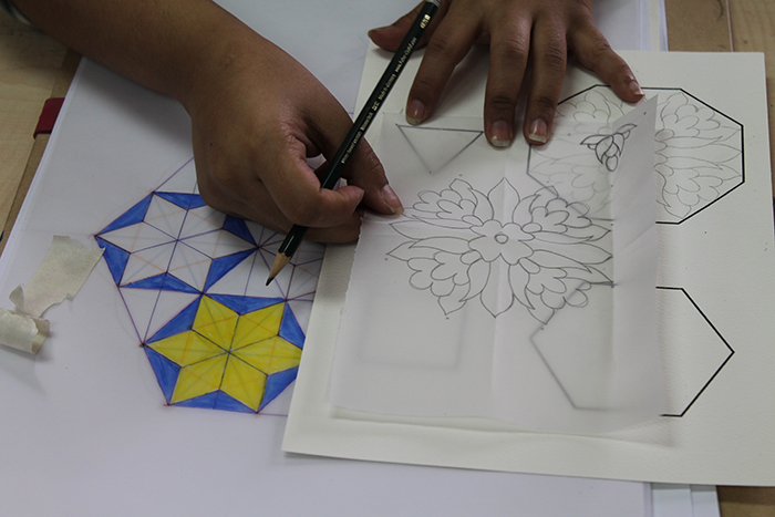 Student's development of geometry and floral patterns from a workshop at Taibah University in Madinah, Saudi Arabia - See more at: http://ayeshagamiet.com/blog/#sthash.qGJ6hAk0.dpuf