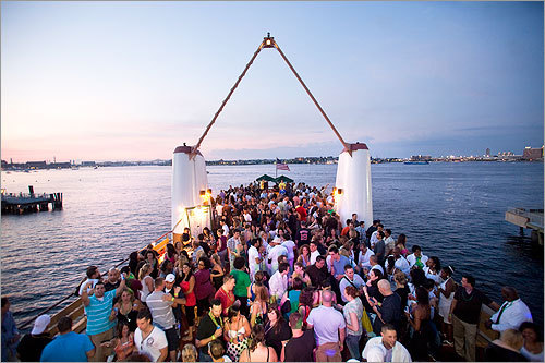 Hundreds of people crowded the decks of the MV Provincetown II for Boston Event Guide's Summer Party Cruise. Bands played on the lower and middle levels of the ship while scenesters danced, mingled, and got airbrush tattoos (no, really). Our intrepid photographer braved the boat for three hours of music and merriment.