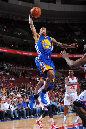 PHILADELPHIA, PA - MARCH 6: Monta Ellis #8 of the Golden State Warriors dunks against the Philadelphia 76ers during the game on March 6, 2011 at the Wells Fargo Center in Philadelphia, Pennsylvania.  <br><br><span class=