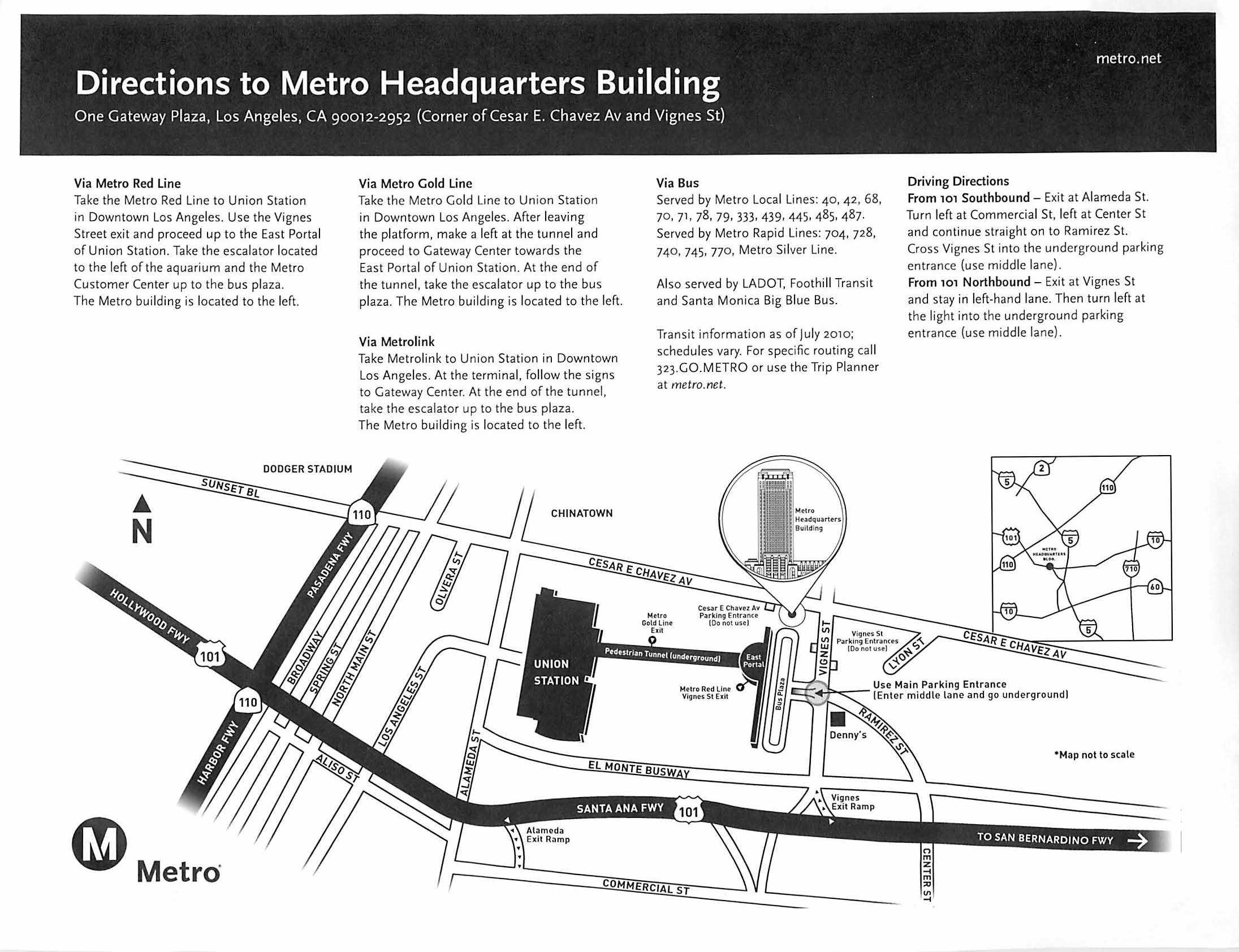 Directions to Metro Headquarters Building
