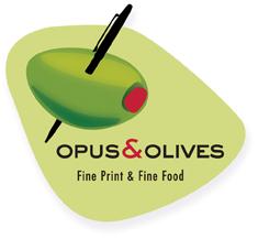 Opus & Olives: Fine Print & Fine Food - event brand