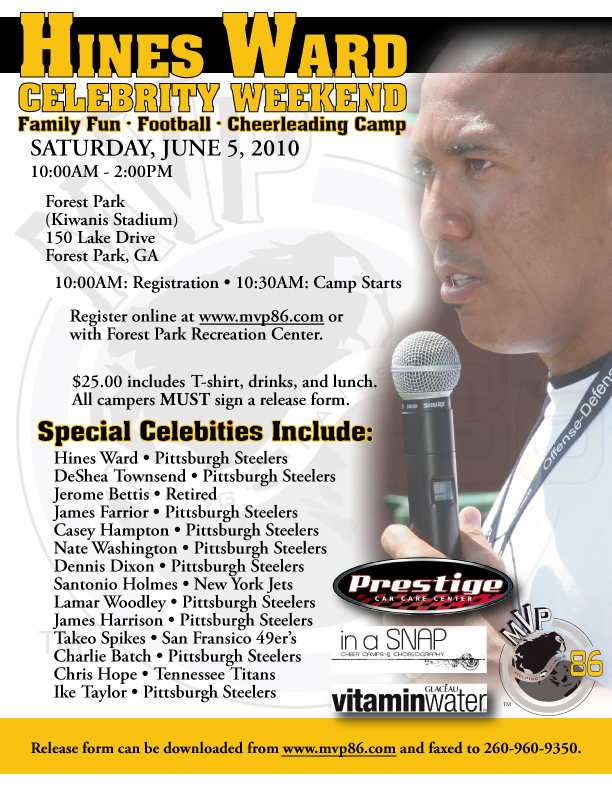 Flyer of Camp during THe Hines Ward Weekend