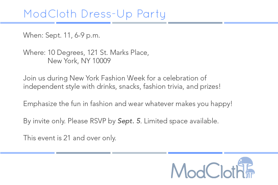 ModCloth Dress-Up Party Invite