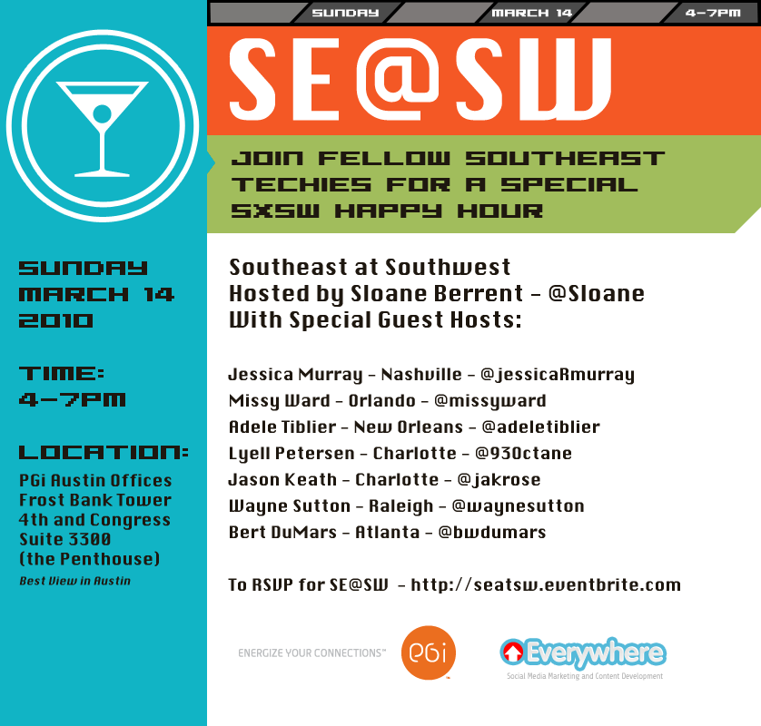 Join fellow people from the SE @ SXSW to drink, mingle and network