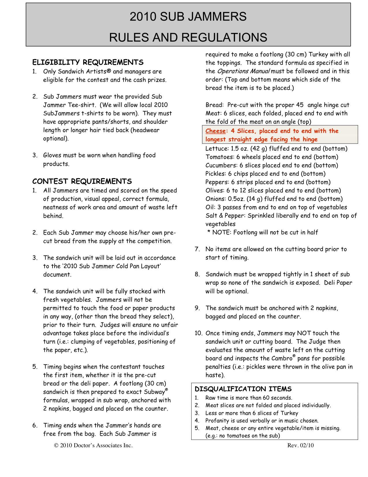 2010 Sub Jammers Rules and Regulations