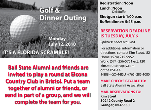 Header for the Michiana golf and dinner outing