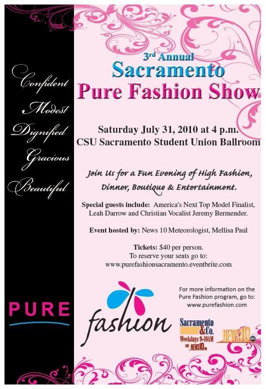 Pure Fashion Show poster describing event details