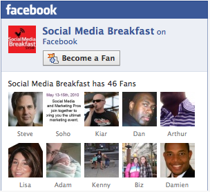image inviting you to Become a Fan of the Social Media Breakfast Facebook Page