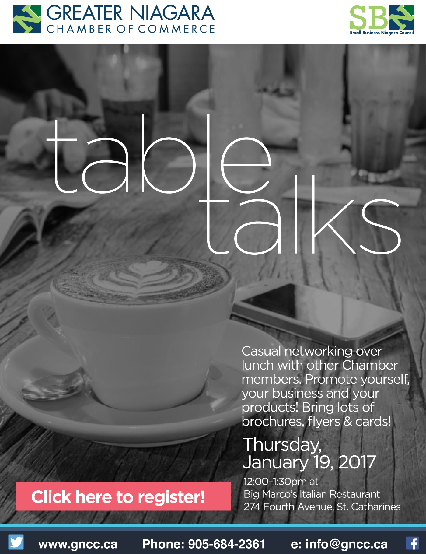 Table Talks - Casual networking over lunch with other Chamber members. Promote yourself, your business and your products! Bring lots of brochures, flyers & cards!