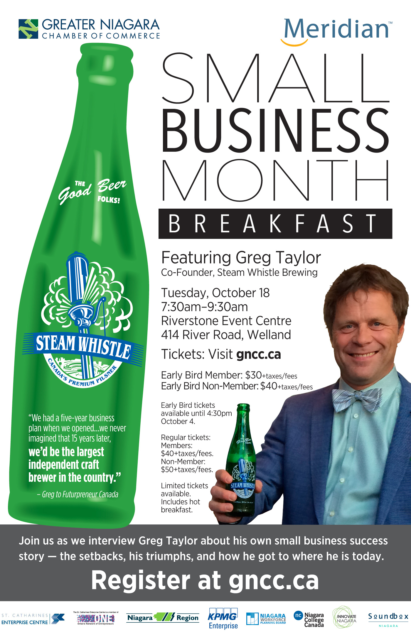 Featuring Greg Taylor, co-founder, Steam Whistle Brewing