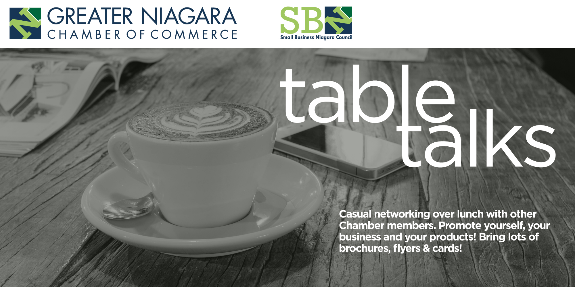 Introducing: Table Talks!  This new event is an excellent opportunity to network with other GNCC members over lunch and discuss your business and products! This month join us at Johnny Rocco's in St. Catharines, starting at 12:00pm.  Make sure to bring lots of business cards and promotional material!	*Please note, 48 hour cancellation notice is required for credit or refund. Cancellations received after deadline will be charged full amount.*