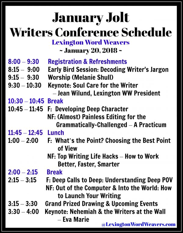 Schedule Lexington Word Weavers JanuaryJolt 2018 Writers Conference
