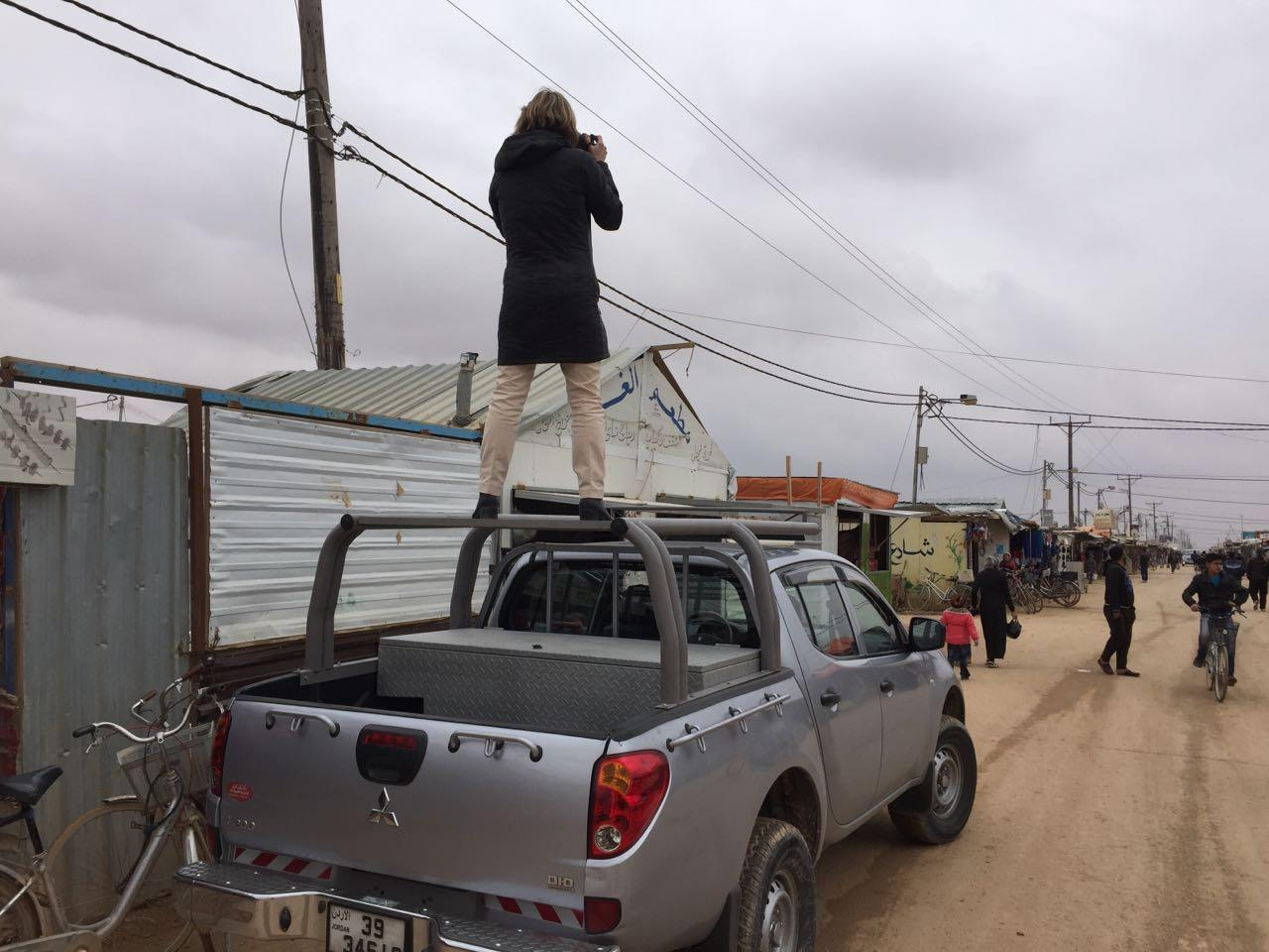 VPR's Nina Keck at the Zaatari refugee camp in Jordan, where over 80,000 Syrian refugees live.