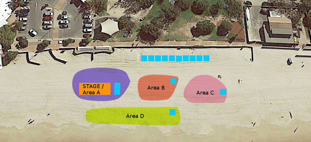 Site plan for the Muscle Beach Party 2017 event at Kings Beach, 4551 QLD