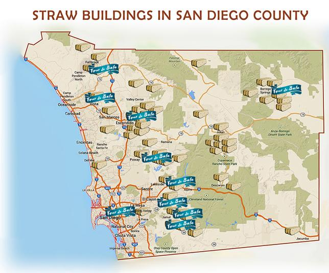 Straw buildings in San Diego County