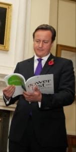 PM David Cameron reading the Powerlist