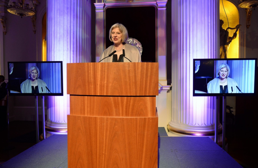 Home Secretary of the UK, Rt Hon. Theresa May, delivering the key note speech at the inaugural 2014 Powerlist Influencers Dinner at Mansion House, London