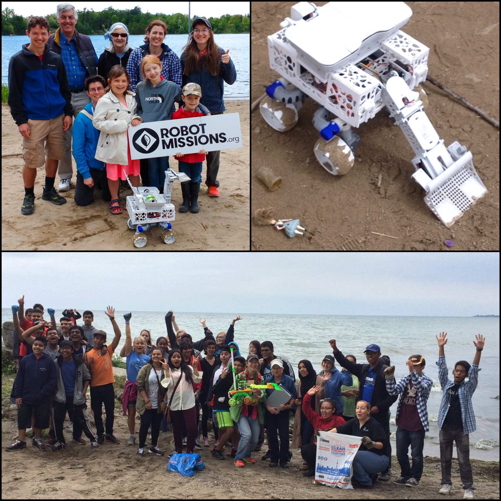Group photo with the robot on beach