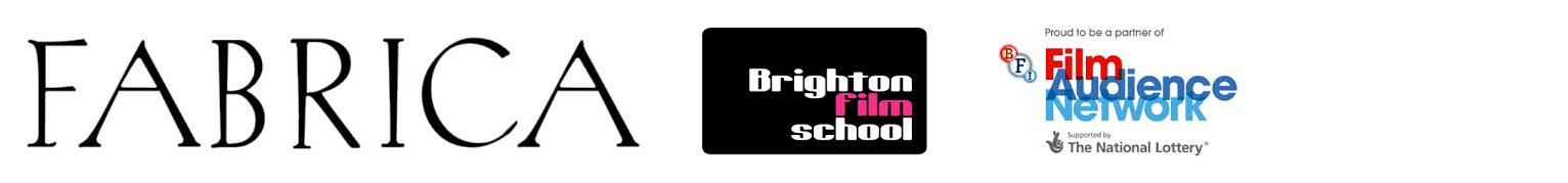 Footer displaying the logos for Fabrica, Brighton Film School and BFI Film Audience Network