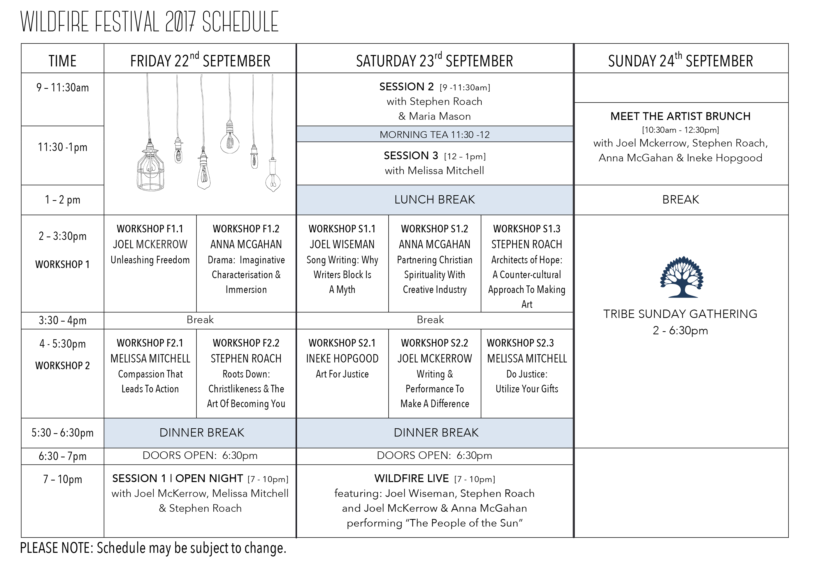 Tribe Wildfrie Festival Schedule 2017