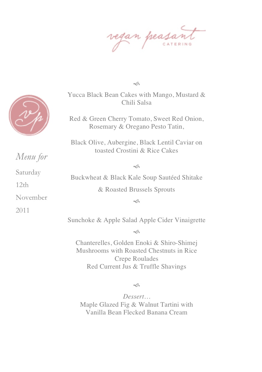 Autumn Harvest Dinner Menu