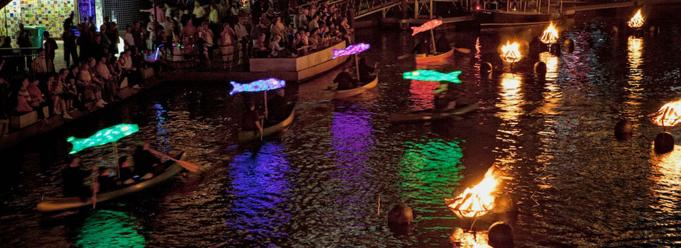 Paddling with the Koi Fish at WaterFire Providence