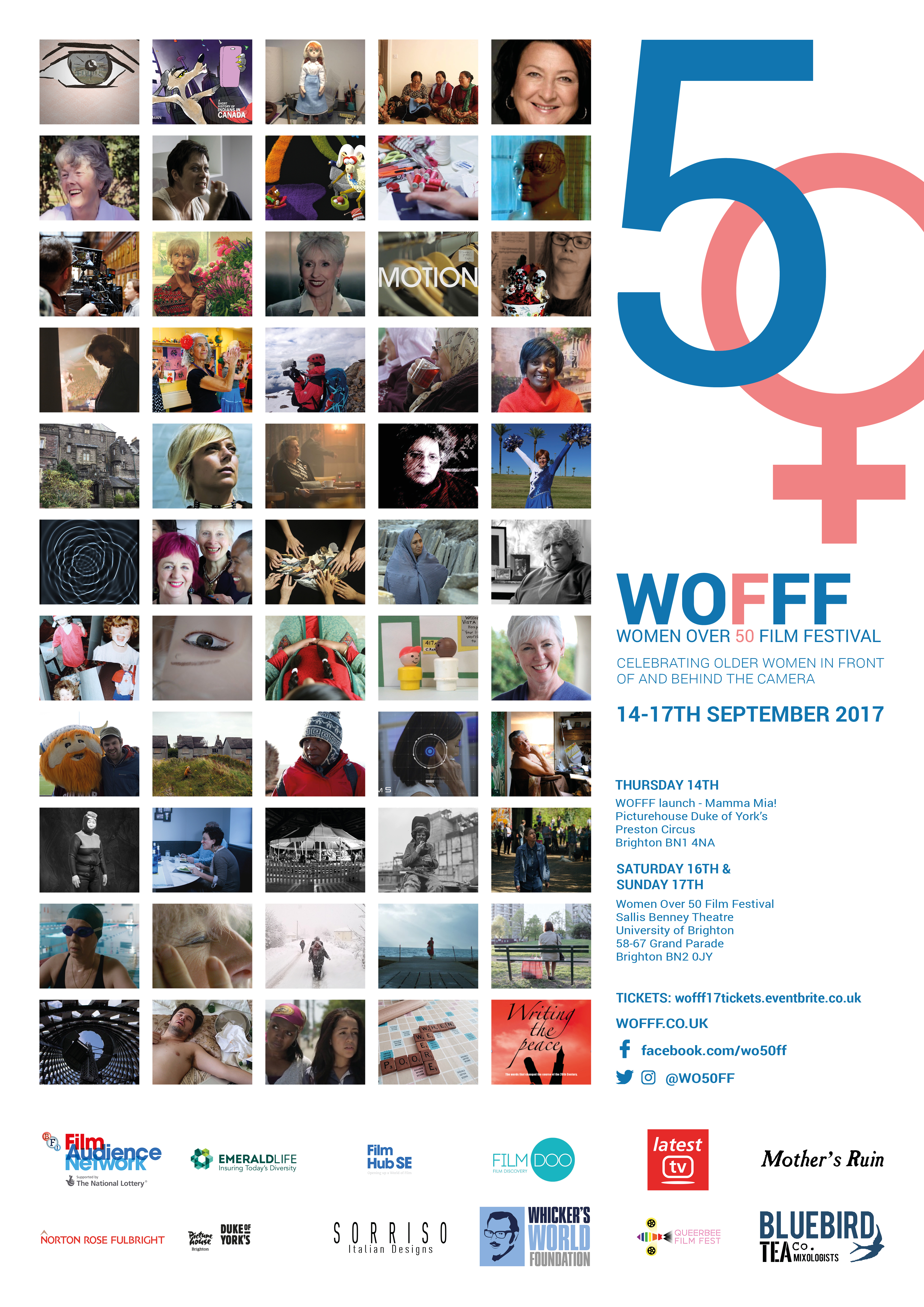 Collage of 55 images of films screening at WOFFF17