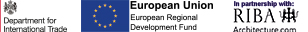 DIT, ERDF and RIBA logos