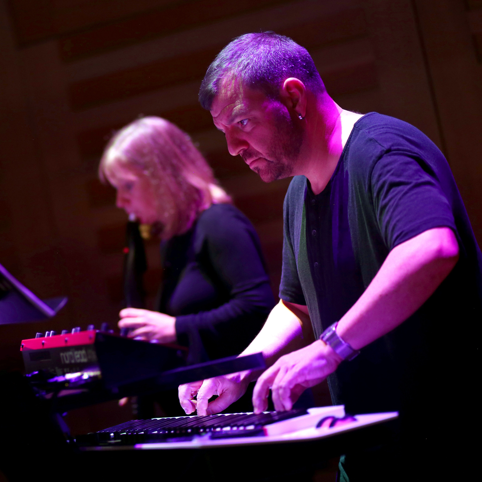 Steven Devine playing synths and Annabel Knight playing EWI