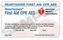 Attentive Safety Heartsaver First Aid CPR AED Card