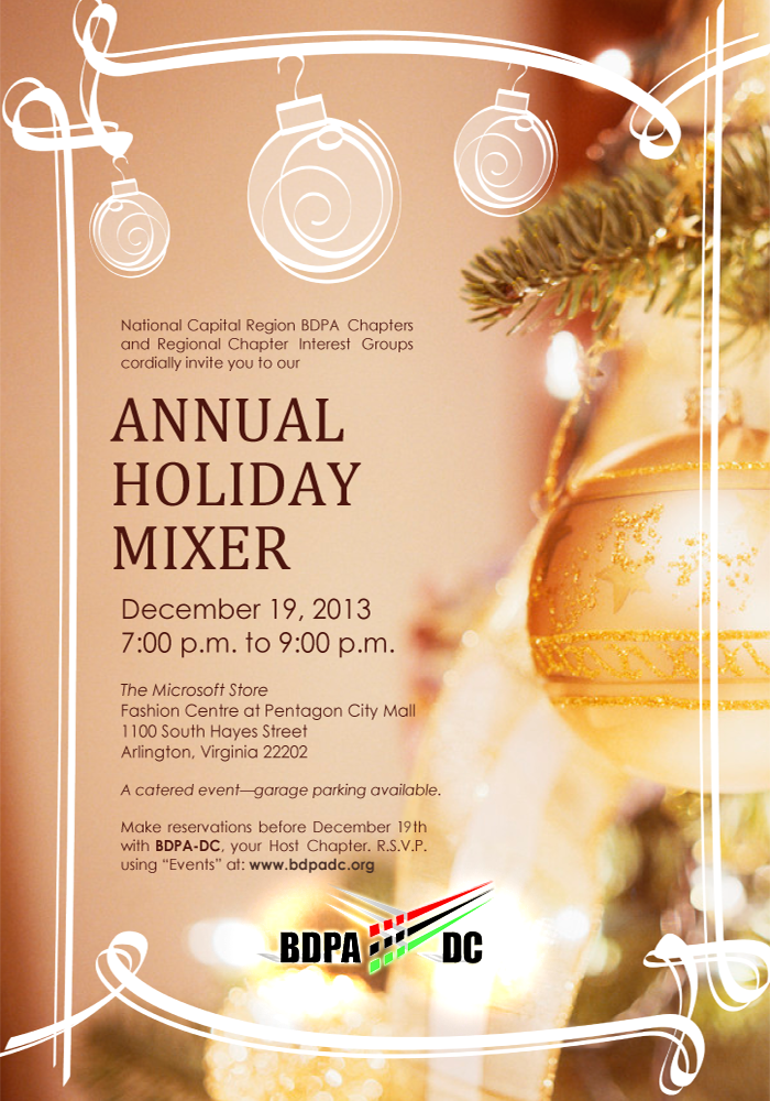 Select here for details: BDPA Holiday Mixer at The Microsoft Store