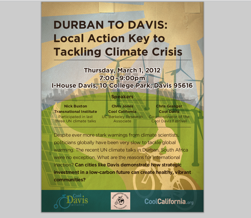 Poster for Durban to Davis event