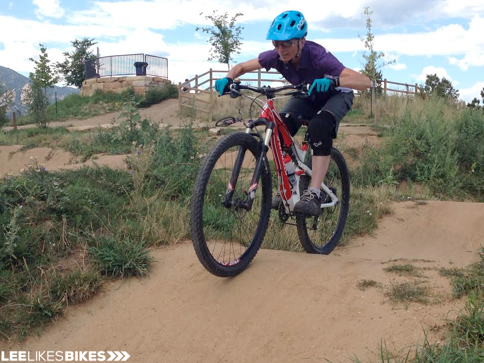 Chris Boose loves the pump track during a Lee Likes Bikes MTB skills class.