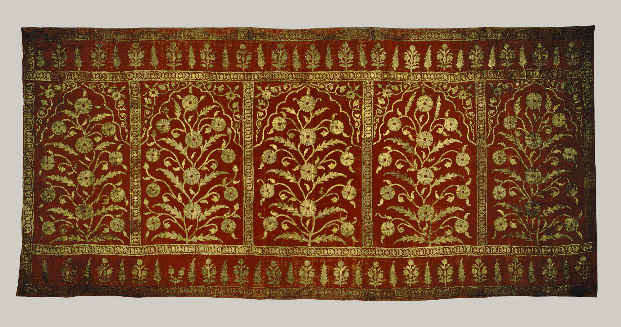 Silk, gold and velvet Mughal textile - tent panel