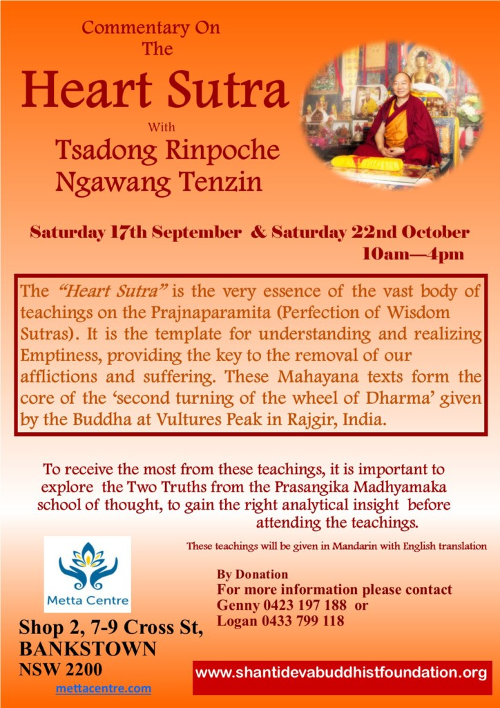 the Complementary On Heart Sutta with Tsadong Pinpoche Ngawang Tenzin