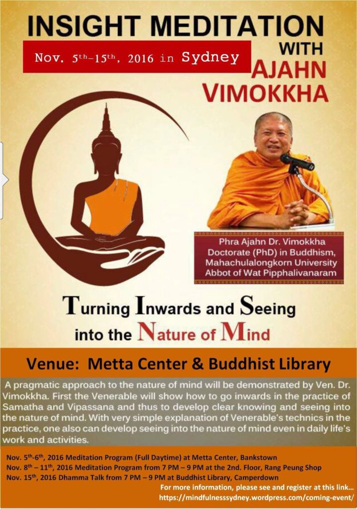 Ven Vimokkha Retreat in Sydney